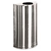 European & Metallic Open Top Receptacle, Half-Round, 12gal, Satin Stainless
