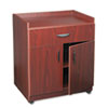 Mobile laminate machine stand with pullout drawer has one shelf and four casters.