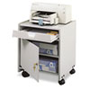Gray office machine mobile floor stand with laminate finish has one drawer, one locking door, one adjustable shelf and four casters.