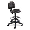 Precision Extended Height Swivel Stool W/adjustable Footring, Black Vinyl
