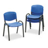 Contour Stacking Chairs, Blue w/Black Frame, 4/Carton