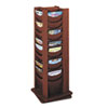 Rotary Display, 48 Compartments, 17-3/4w x 17-3/4d x 49-1/2h, Mahogany