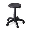 Office Stool With Casters, Seat: 14in Dia. X 16-21, Black