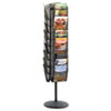 Onyx Mesh Rotating Magazine Display, 30 Compartments, 16-1/2w x 66h, Black