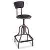 Diesel Series Industrial Stool W/back, High Base, Pewter Leather Seat/back Pad