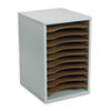 Wood Vertical Desktop Literature Sorter, 11 Sections 10 5/8 X 11 7/8 X 16, Gray