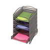Onyx Stackable Literature Organizer, Five-Drawer, Black