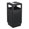 Canmeleon Ash/Trash Receptacle, Square, Polyethylene, 38gal, Textured Black