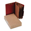 Pressboard 25-Pt Classification Folders, Legal, 8-Section, Earth Red, 10/Box