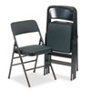 Deluxe Fabric Padded Seat & Back Folding Chairs, Cavallaro Black, 4/carton
