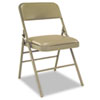 Deluxe Vinyl Padded Seat & Back Folding Chairs, Taupe, 4/carton
