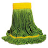 Ecomop Looped-End Mop Head, Recycled Fibers, Medium Size, Green, 12/carton