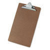Hardboard Clipboard, 1 Capacity, Holds 8 1/2 X 14, Brown
