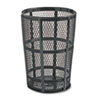 Steel Street Basket Waste Receptacle, Round, Steel, 45 Gal, Black