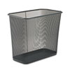 Steel Mesh Wastebasket, Rectangular, 7.5gal, Black