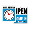 Headline® Sign Double-Sided Open/Will Return Sign w/Clock Hands, Plastic, 7 1/2 x 9 USS9382