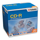 CD-R Discs, 700MB/80min, 52x, w/Slim Jewel Cases, Silver, 20/Pack VER94936