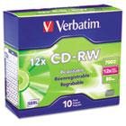 CD-RW Discs, 700MB/80min, 12x, w/Slim Jewel Cases, Silver, 10/Pack VER95156