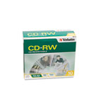 CD-RW Discs, 700MB/80min, 2X/4X, Slim Jewel Case, Matte Silver, 10/Pack VER95170