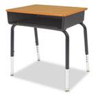 Open Front Student Desk, 24w x 18d x 30h, Walnut Top, 2/Carton VIR785078