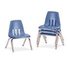 "9000 Series Classroom Chairs, 10"" Seat Height, Blueberry/Chrome, 4/Carton VIR901040"