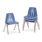 "9000 Series Classroom Chairs, 12"" Seat Height, Blueberry/Chrome, 4/Carton VIR901240"
