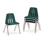 "9000 Series Classroom Chairs, 12"" Seat Height, Forest Green/Chrome, 4/Carton VIR901275"