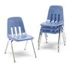 "9000 Series Classroom Chairs, 16"" Seat Height, Blueberry/Chrome, 4/Carton VIR901640"