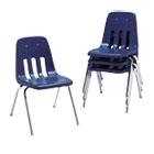 "9000 Series Classroom Chairs, 16"" Seat Height, Navy/Chrome, 4/Carton VIR901651"