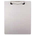"Brushed Aluminum Plastic Clipboard, 1/2"" Capacity, Holds 8-1/2w x 11h, Silver UNV40303"