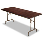 Wood Folding Table, Rectangular, 72w x 30d x 29h, Walnut ALEFT727230WA