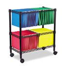 Two-Tier Rolling File Cart, 26w x14d x 29-1/2h, Black ALEFW601426BL