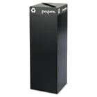 Public Square Recycling Container, Square, Steel, 42gal, Black SAF2984BL