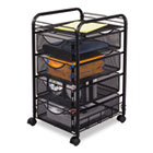 Onyx Mesh Mobile File With Four Supply Drawers, 15-3/4w x 17d x 27h, Black SAF5214BL