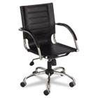 Flaunt Series Mid-Back Manager's Chair, Black Leather/Chrome SAF3456BL