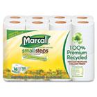 Marcal 100% Recycled Toilet Paper, 2 Ply, 4.3x3.7 in, 168 sht/rl, 16 rl/pk MRC1646616PK