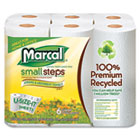 Marcal Small Steps Kitchen Roll Towels, 2 Ply, 5.8 x 11 in, White, 140 sht/rl, 6 rl/pk MRC6181PK
