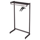 "Single-Side Garment Rack w/Shelf, Powder Coated Textured Steel, 48"" Wide, Black QRT20214"