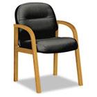 2190 Pillow-Soft Wood Series Guest Arm Chair, Harvest/Black Leather HON2194CSR11