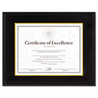 Hardwood Document/Certificate Frame w/Mat, 11 x 14, Black DAX1511TB