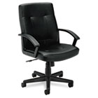 VL602 Series Managerial Mid-Back Chair, Black Leather BSXVL602SB11