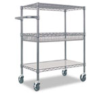 Three-Tier Wire Rolling Cart, 34w x 18d x 40h, Black Anthracite ALESW543018BA