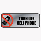 Brushed Metal Office Sign, Turn Off Cell Phone, 9 x 3, Silver/Red COS098211