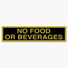 Business Decal Sign, No Food or Beverages, 4 x 8 1/2, Black/Gold COS098079