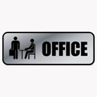 Brushed Metal Office Sign, Office, 9 x 3, Silver COS098209