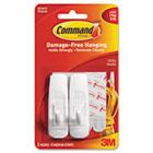General Purpose Hooks, 3lb Capacity, Plastic, White, 2 Hooks & 4 Strips/Pack MMM17001