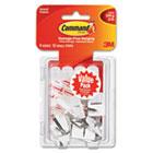 General Purpose Hooks, Small, Holds 1lb, White, 9 Hooks & 12 Strips/Pack MMM17067VP