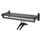 Metal Wall Shelf Rack, Powder Coated Textured Steel, 48w x 14-1/2d x 6h, Black QRT20404