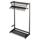"Single-Sided Rack w/Two Shelves, 12 Hangers, Steel, 48"" Wide, Black QRT20224"