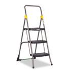 Commercial 3-Step Folding Stool, 300lb Cap, 20 1/2w x 32 5/8d x 52 1/8h, Gray CSC11839GGO